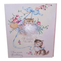 Unused 1960s Happy Birthday Greeting Card - Playful Kittens - A Double Wish for Your Birthday