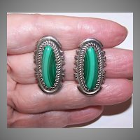 Native American Sterling Silver Malachite Earrings