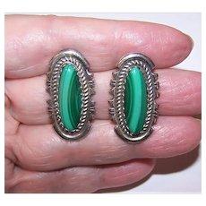 Native American Sterling Silver Malachite Pierced Earrings