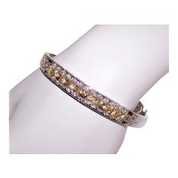 Vintage Sterling Silver 3.23CT TW Cubic Zirconia/CA & Diamond Accent Hinged Bangle Bracelet