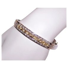 Vintage Sterling Silver 3.23CT TW Cubic Zirconia/CZ & Diamond Accent Hinged Bangle Bracelet