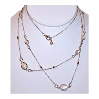 """Sterling Silver Vermeil Marcasite & Faceted Crystal 41"""" Station Necklace"""