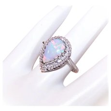 Trubrite 14K Gold 2CT Pear Shaped Natural Opal Ring with .24CT TW Diamond Halo - Size 4.75