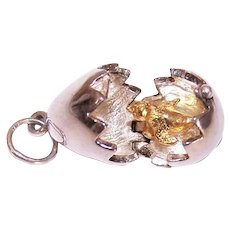Sterling Silver Easter Egg/Hatching Egg Pendant with Yellow Gold Mechanical Chick