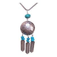 Native American Navajo Sterling Silver Turquoise Drop Pendant
