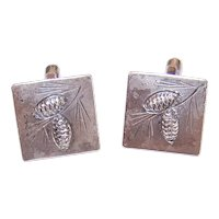 Stuart Nye Sterling Silver Cuff Cufflinks - Winter Pine Cone Design