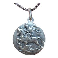 European 800 Silver Religious Medal Pendant - Saint George Slaying the Dragon