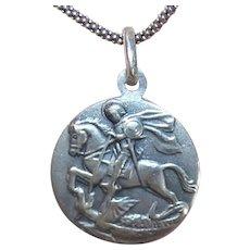 European 800 Silver Religious Medal Pendant - Saint George Slaying the Dragon