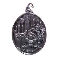 Napoleon III French Silver Catholic First Communion Medal Charm Pendant | No Engraving