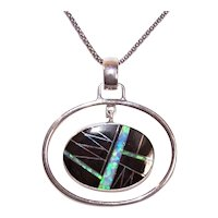 Sterling Silver Onyx Opal Inlay Drop Pendant | Native American Look