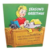 "Unused 1960s Merry Christmas ""Pull Down"" Greeting Card 