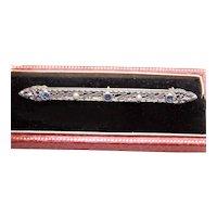 Krementz Art Deco 14K Gold Sapphire Pearl Bar Pin
