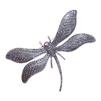 Art Deco Revival Sterling Silver Marcasite Pin Brooch - H-U-G-E Dragonfly