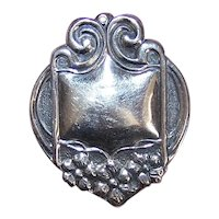 Art Nouveau 800 Silver Luggage Tag or Pendant - Sinewy Curves and Flowers