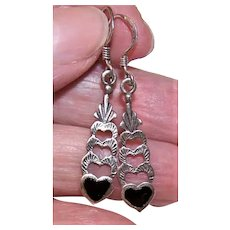 Sterling Silver Black Enamel Drop Earrings with Hearts - Pierced Earrings