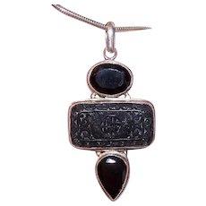 Sterling Silver Black Onyx Carved Cinnabar Drop Pendant