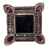 Art Deco Revival Sterling Silver Onyx Marcasite Garnet Pin Brooch