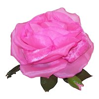 Large Hot Pink Organza & Velvet Millinery Corsage Pin for Hat or Lapel