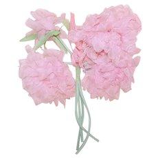 Vintage Millinery (Ladies Hat) Embellishment - 4 Stems of Pale Pink Organza Chrysanthemums   Original Price Tag of .29