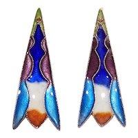 China Silver Multicolor Enamel Drop Earrings - Pierced Earrings