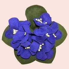 Vintage Ultrasuede Millinery Hat Decoration - A Bouquet of Violets