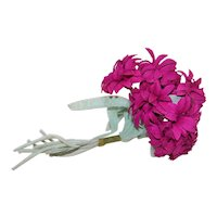 Vintage Millinery (Ladies Hat) Embellishment - 7 Stems of Burgundy Cotton Chrysanthemums