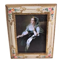 Made in Italy Italian Tole Wooden Picture Frame - Cream with Gilt Highlighting and Handpainted Florals