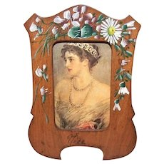 Antique Edwardian French Souvenir of Nice - Painted Olive Wood Picture Frame | Floral Decoration