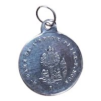 Antique French Silver Religious Medal or Charm - Souvenir of Notre Dame - Holy Virgin & Child