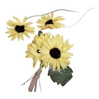 Vintage Millinery (Ladies Hat) Embellishment - Corsage Pin of 4 Daisies | 2 Loose Daisy Stems
