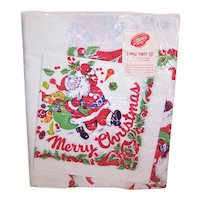 Unopened Package 5 Piece Part Set for Christmas - Paper Table Cover & 4 Napkins | Santa Claus Merry Christmas Design