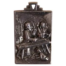 Creed Sterling Silver Religious Medal Pendant - The Holy Family at Home | Rare Design Depicting St Joseph, Virgin Mary and Infant Jesus