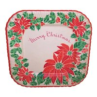 """Art Deco Unopened Package Reed's Christmas Party Plates - Six 8"""" Merry Christmas Poinsettia Paper Plates"""