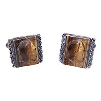 Sterling Silver Carved Tigereye Cameo Cufflinks - Classic Greek or Roman Soldier Fronts