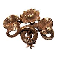 Riker Brothers Art Nouveau 14K Gold Watch Pin Brooch - Serpent Snake Among the Pond Lily Pads