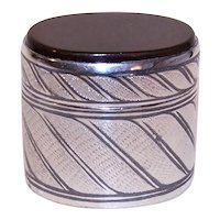 950 Silver Niello & Carnelian Top Oval Trinket Box - Treasure Box