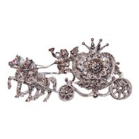 Art Deco Revival Sterling Silver Marcasite Pin Brooch - Cinderella's Carriage Coach with Hidden Watch | Watch Works Though May Need a Clean