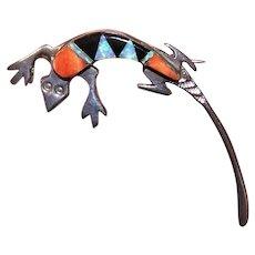 Native American Zuni Sterling Silver Inlaid Stone Pin Brooch - Lizard or Gecko