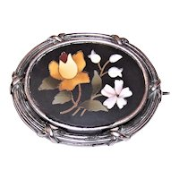 Antique Victorian Sterling Silver Pietra Dura Pin Brooch | Made in Italy Italian World Tour Souvenir Jewelry | Rose & Lily of the Valley