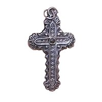 Antique Edwardian French Silver Religious Catholic Cross Pendant with Stanhope
