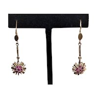 Art Deco 18K Gold Ruby Drop Earrings | Atomic Age Starburst Design | Yellow Gold Pierced Earrings