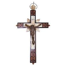 Vintage Olive Wood, Mother of Pearl & Ebony Crucifix from Jerusalem