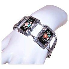Art Nouveau Sterling Silver Pietra Dura Link Bracelet | Made in Italy Italian Grand Tour Souvenir Jewelry | Multiple Florals