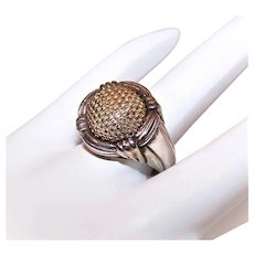 Retired John Hardy Sterling Silver 18K Gold Ring - Domed Basket Weave Top | Size 6.75