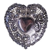 Gorham Openwork Repousse Sterling Silver Footed Candy Bowl - Heart Shape | Pierced Ribbon Design 966 | Valentines Day Candy Holder
