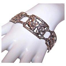 Danecraft Sterling Silver Link Bracelet - Double Florals with Leaves | Rectangular Panels