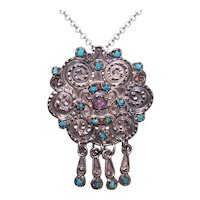 TS-39 'In The Matl Style' Sterling Silver Turquoise Coral Amethyst Pendant Pin Combo