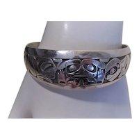 Barry Herem Pacific Northwest Indian Haida Sterling Silver Cuff Bracelet |  Emerging Mankind