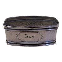Webster Art Deco Hand Hammered Sterling Silver Napkin Ring - Engraved BEN