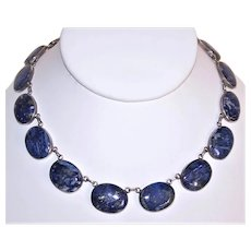 """980 Silver and Sodalite Cab 20"""" Link Necklace"""